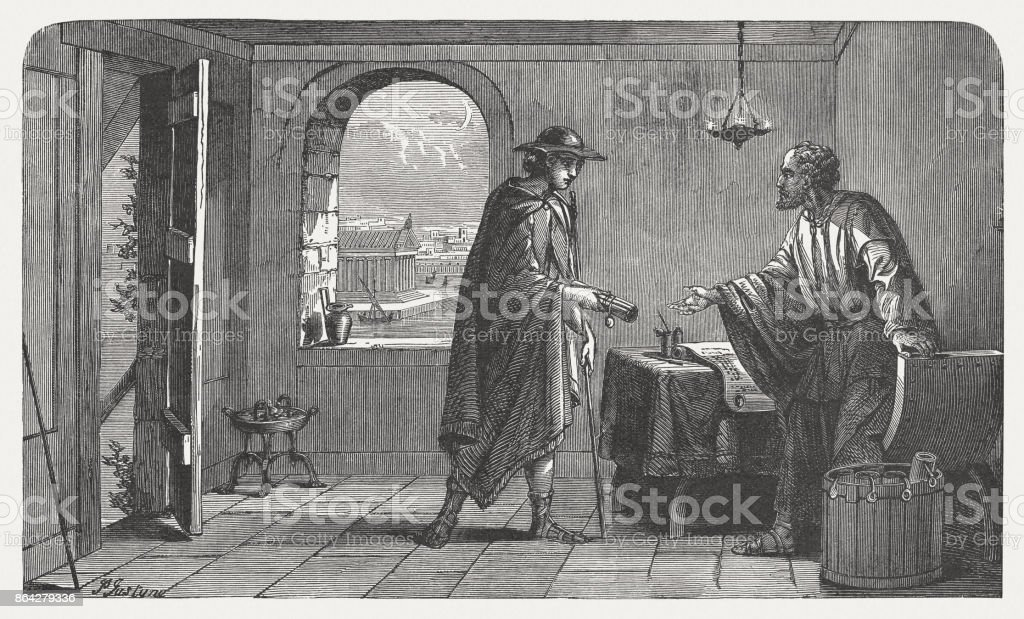 Paul handed Tychicus a letter, wood engraving, published in 1886 royalty-free paul handed tychicus a letter wood engraving published in 1886 stock vector art & more images of apostle