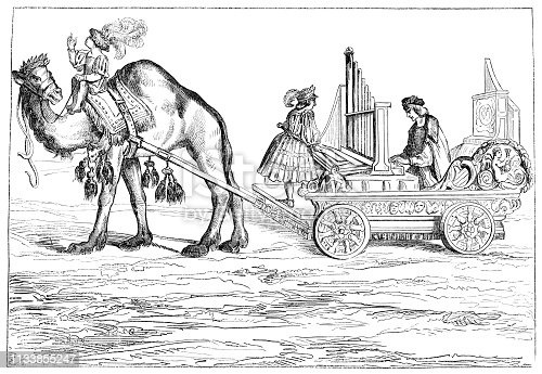 Austrian organist Paul Hofhaimer playing a Medieval positive organ on a wagon, early mobile version of the modern pipe organ (circa 15th century). Vintage etching circa mid 19th century.