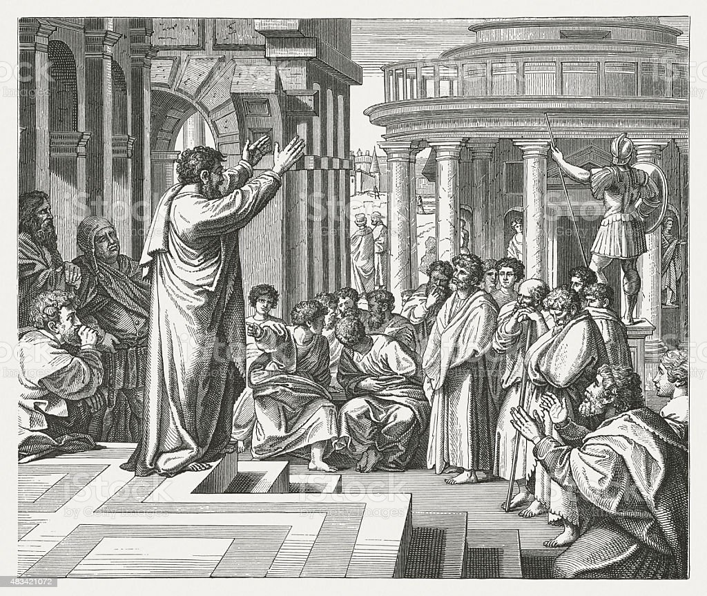 Paul in Athens (Acts 17) by Raphael, published in 1878 vector art illustration