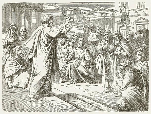 stockillustraties, clipart, cartoons en iconen met paul in athens (acts 17, 22-23) - athens