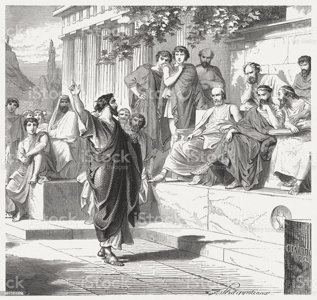 Paul preaches in Athens (Acts 17), wood engraving, published 1886 vector art illustration