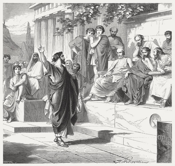Paul preaches in Athens (Acts 17), wood engraving, published 1886 Paul preaches in Athens (Acts 17). Wood engraving, published in 1886. ancient greece stock illustrations