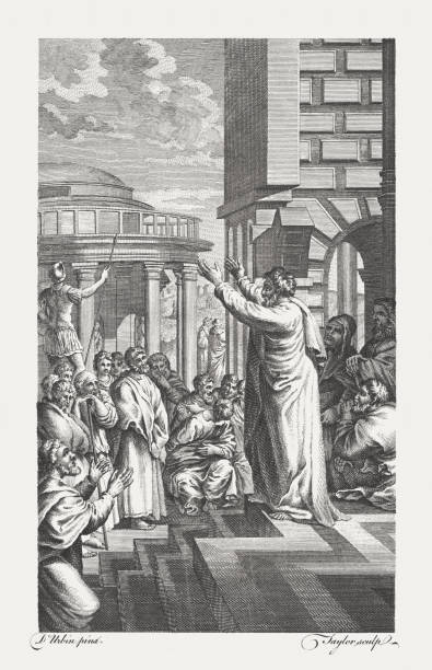 Paul preaching to the Athenians (Acts 17), published in 1771 vector art illustration