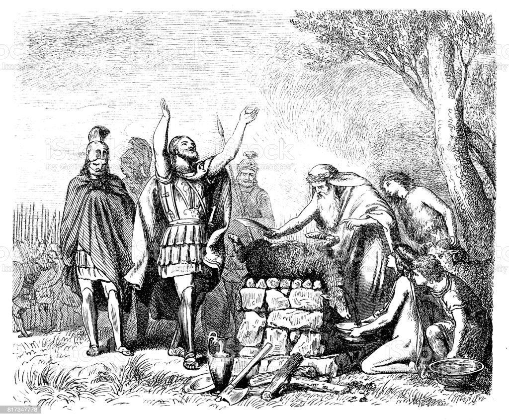 Pausanias Sacrifices to the Gods before the Battle of Plataea vector art illustration