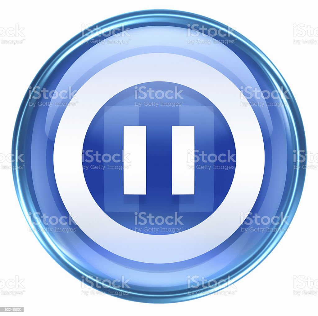 pause icon blue, isolated on white background. royalty-free stock vector art