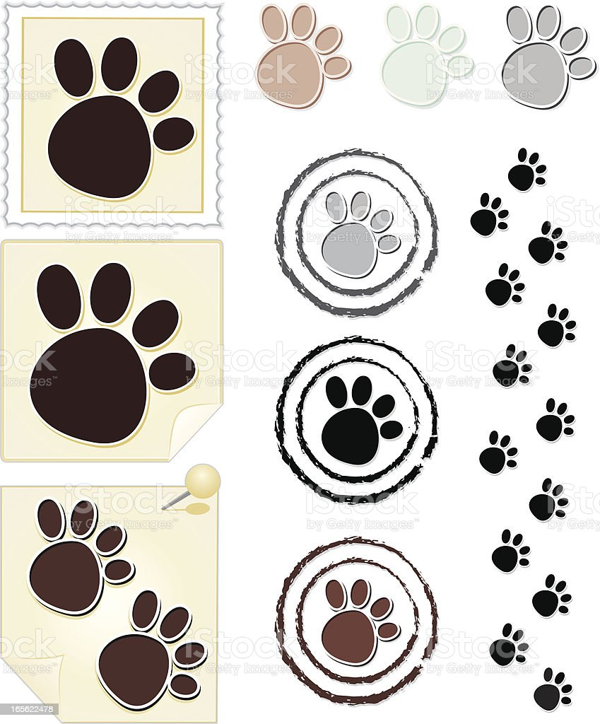 Paw print collection royalty-free stock vector art