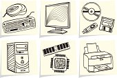 Pc components and peripheral devices sketches on yellow memo sticks. Vector illustration.