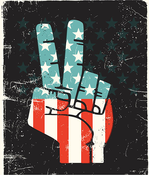 Peace Fingers USA vector art illustration