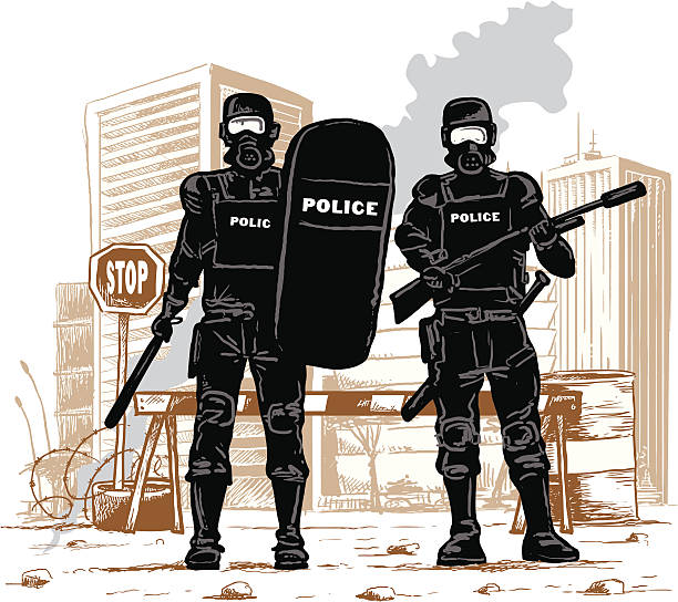 Peace in town A riot police squad watching for security in the city. riot police stock illustrations