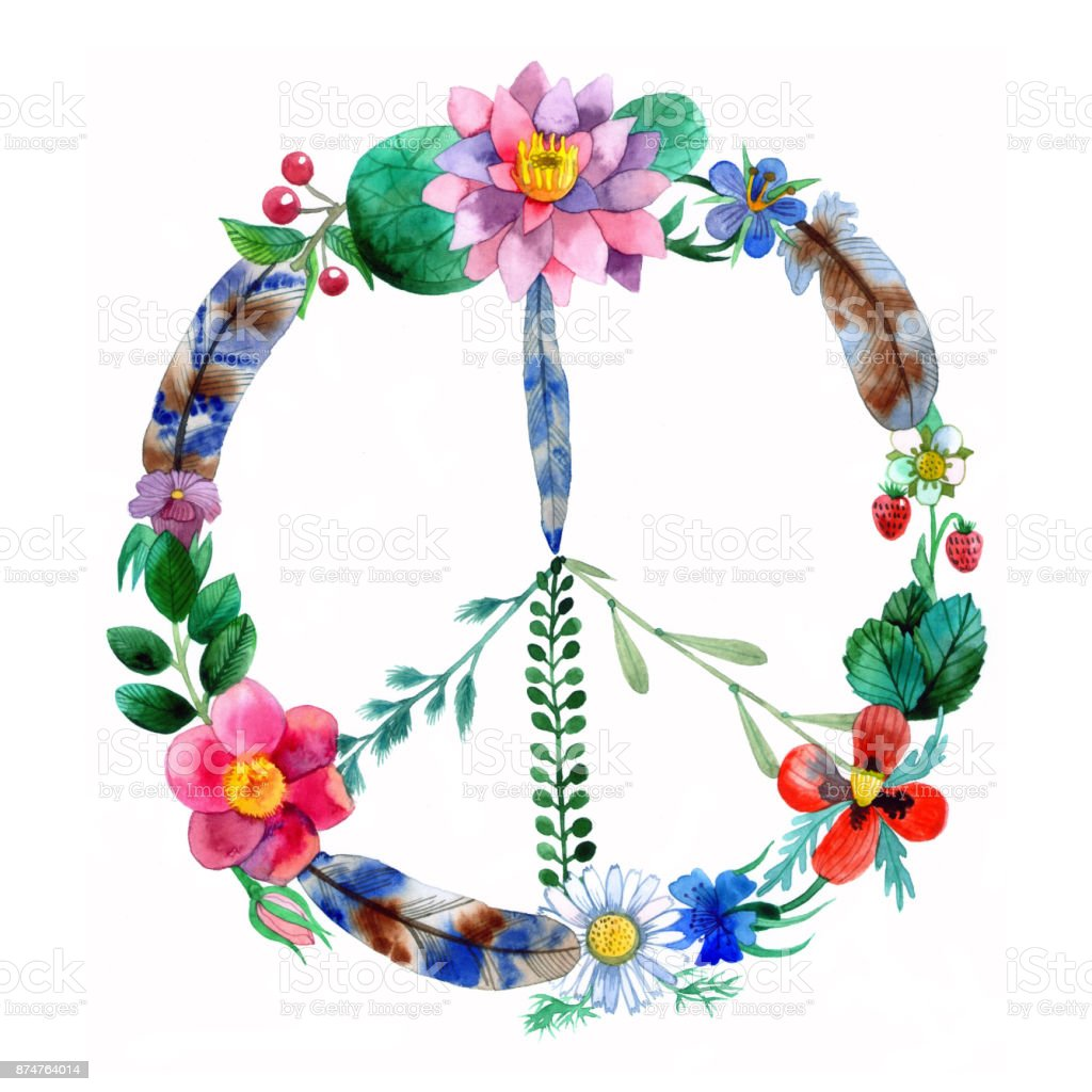 Peace made of flowers, plants and feathers. vector art illustration