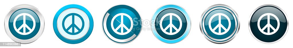 Peace silver metallic chrome border icons in 6 options, set of web blue round buttons isolated on white background