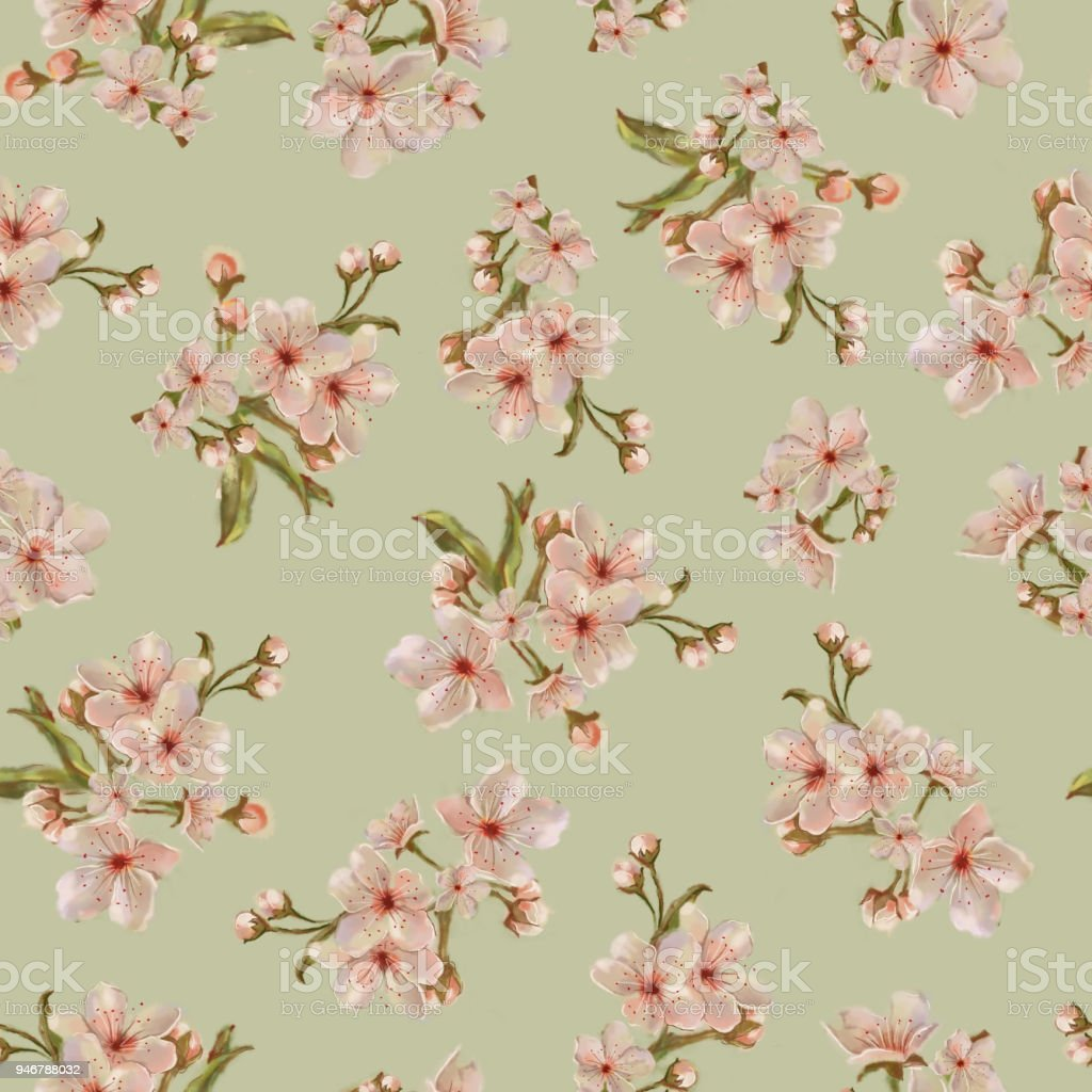 Peach Inflorescence Seamless Pattern on Green Background. vector art illustration