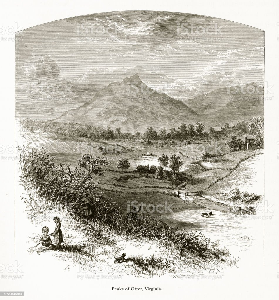 Peaks of Otter, Virginia, United States, American Victorian Engraving, 1872 vector art illustration