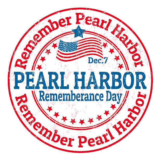 Pearl Harbor Rememberance Day stamp Grunge rubber stamp with the text Pearl Harbor Rememberance Day written inside infamous stock illustrations