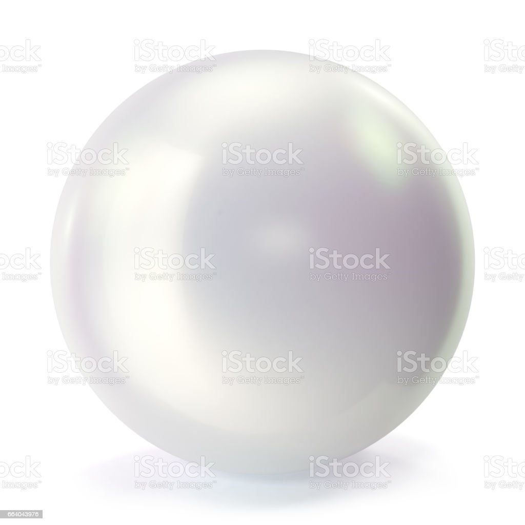 Pearl isolated on white backgorund. Oyster pearl ball for luxury accessories. Sphere shiny sea pearl. 3d rendering vector art illustration