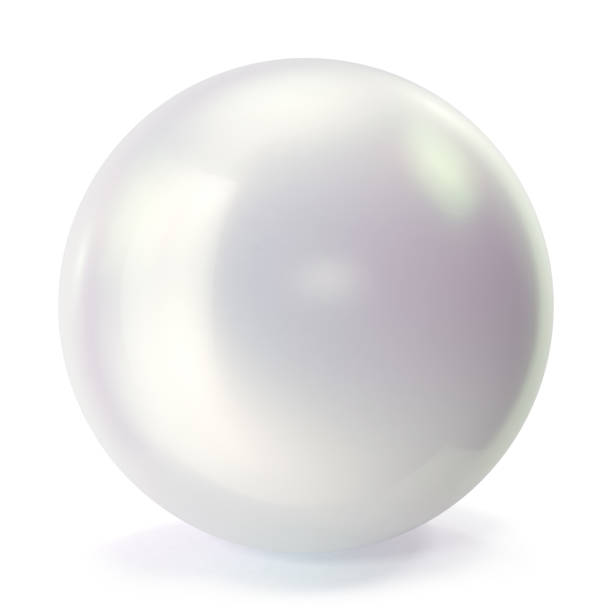 pearl isolated on white backgorund. oyster pearl ball for luxury accessories. sphere shiny sea pearl. 3d rendering - pearl jewelry stock illustrations, clip art, cartoons, & icons