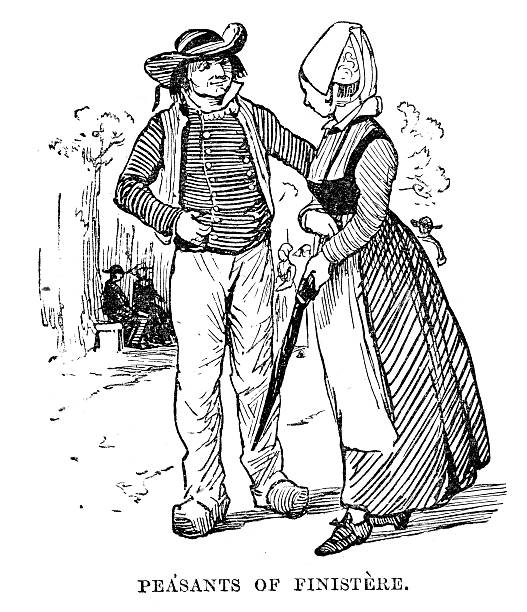 illustrations, cliparts, dessins animés et icônes de paysans de finistère - bretagne