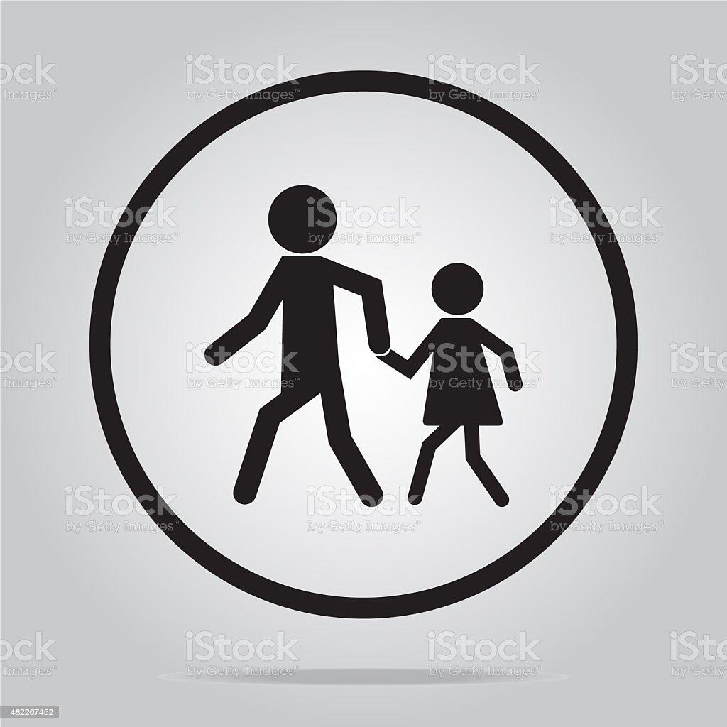 Pedestrian crossing sign vector art illustration