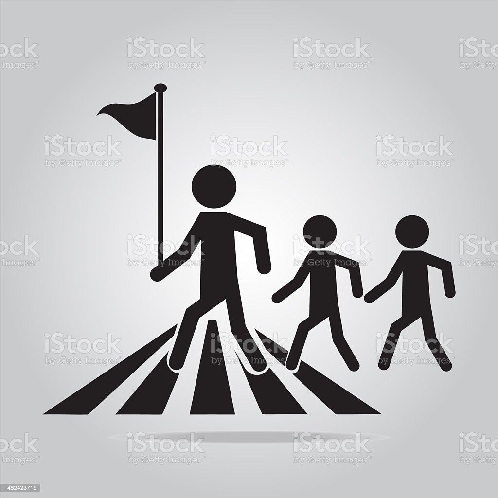 pedestrian crossing sign. vector art illustration