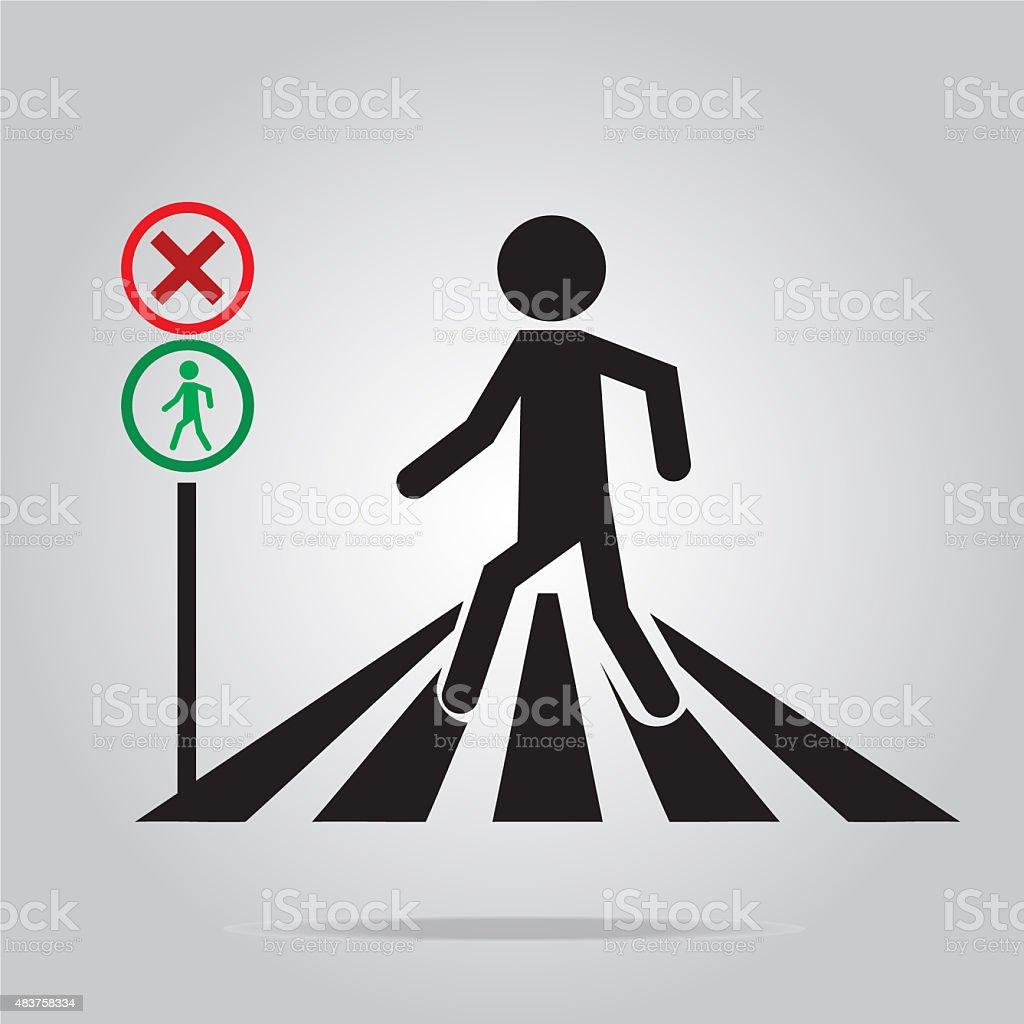 pedestrian crossing sign, school road sign illustration vector art illustration