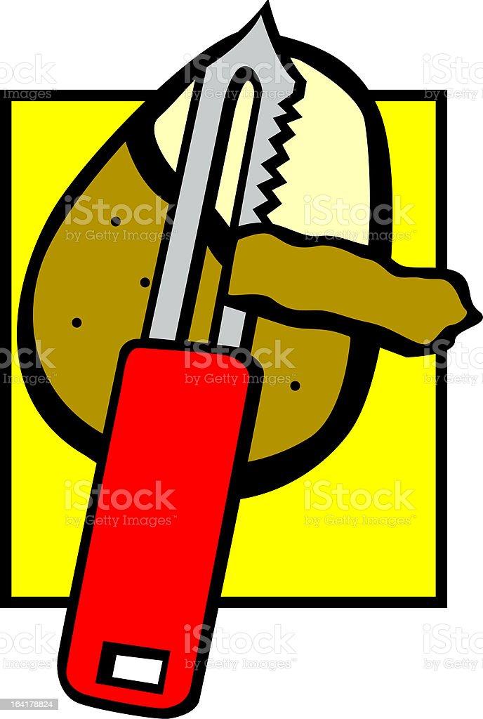 peeling a potato vector art illustration