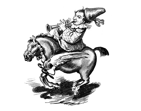 Pegasus and the clown playing the trumpet