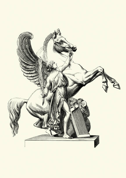 pegasus the winged horse - pegasus stock illustrations