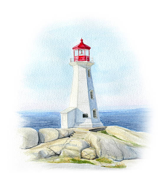 Peggy's Cove Lighthouse Watercolor illustration.  peggy's cove stock illustrations