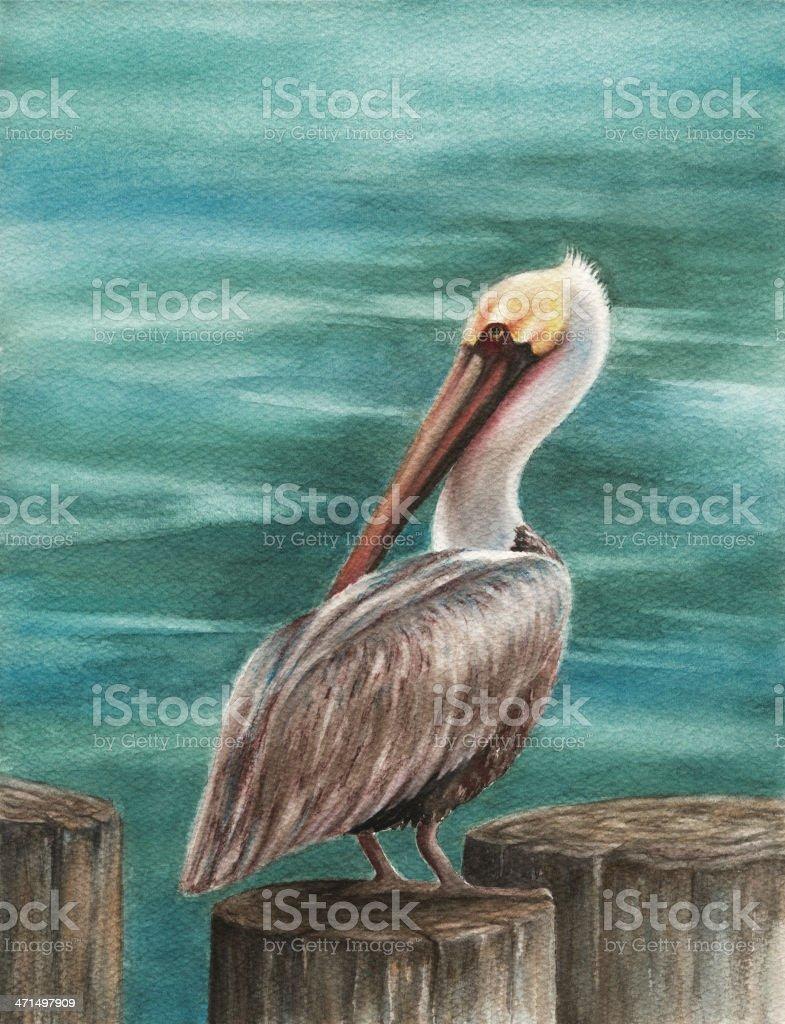 Pelican on Pier vector art illustration