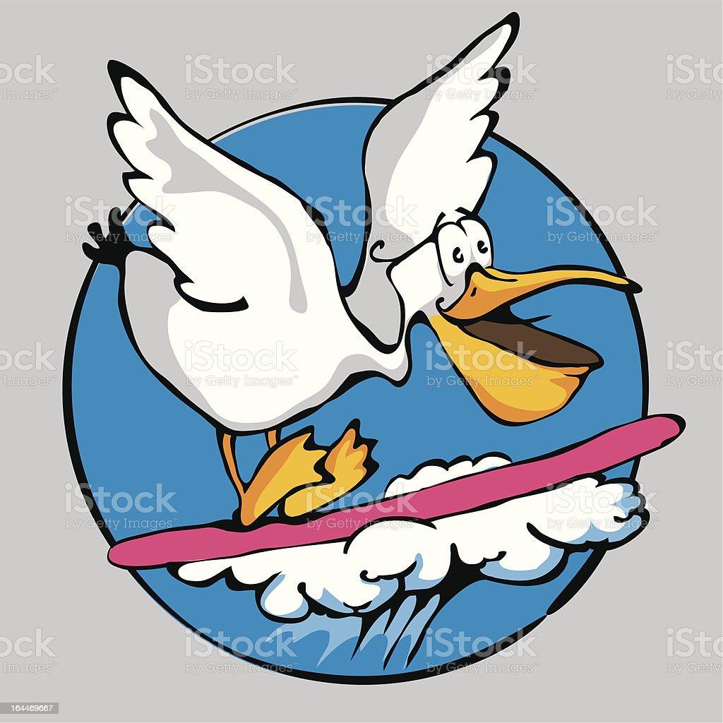 Pelican-Surfer vector art illustration