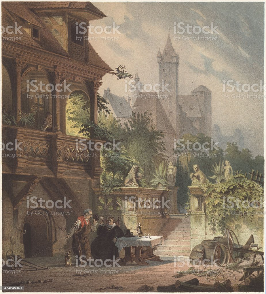 Pellers House in Nuremberg, Germany, lithograph, published in 1868 royalty-free pellers house in nuremberg germany lithograph published in 1868 stock vector art & more images of arcade