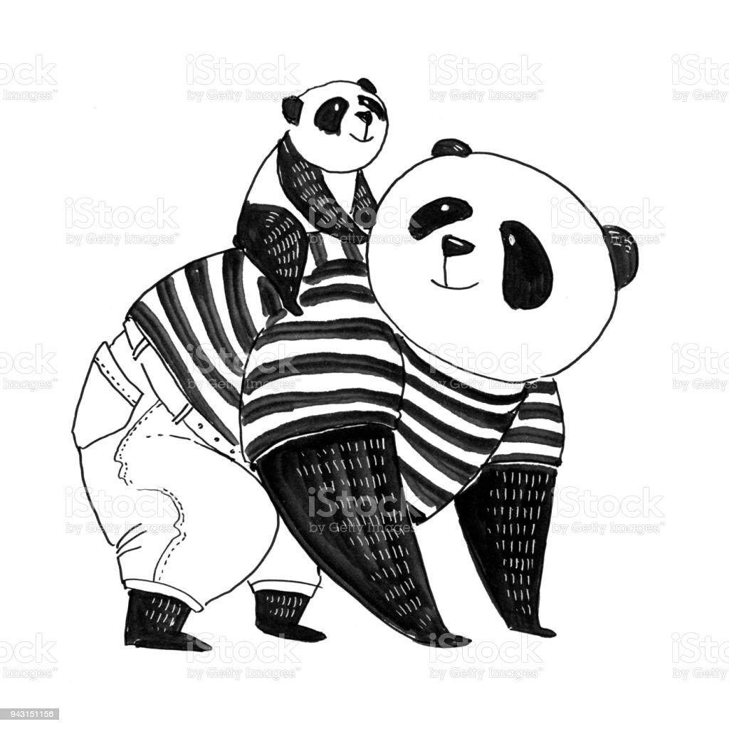 Ilustración De Pluma Blanco Y Negro Para Colorear Libro Panda De ...