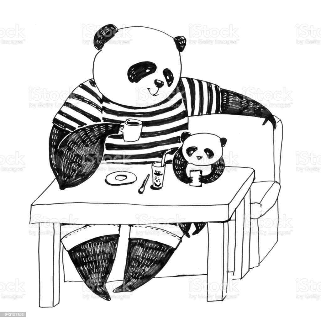 Boyama Kitabı Için Siyah Ve Beyaz Kalem Illüstrasyon Peder Panda