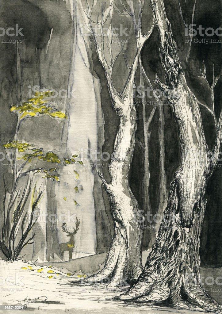 Pen Drawing Mystical Forest Trees Yellow Leaves Silhouette Of Deer Arte Vetorial De Stock E Mais Imagens De Arte Istock