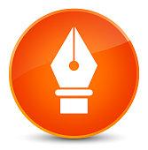 istock Pen icon elegant orange round button 696018992