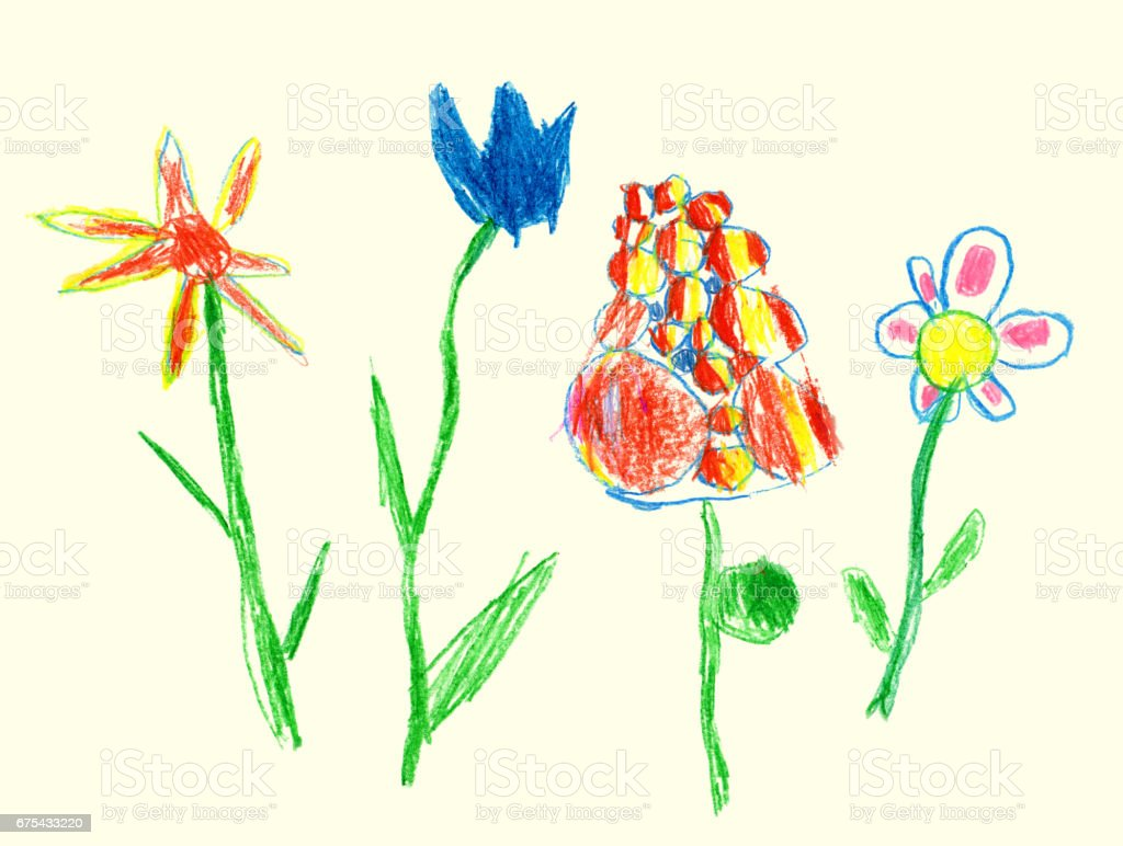 Pencil and crayon like kid`s drawn colorful flowers on beige. Like child`s drawn pastel chalk blooming flowers set. Cute of kid`s like painting spring meadow. pencil and crayon like kids drawn colorful flowers on beige like childs drawn pastel chalk blooming flowers set cute of kids like painting spring meadow – cliparts vectoriels et plus d'images de affiche libre de droits