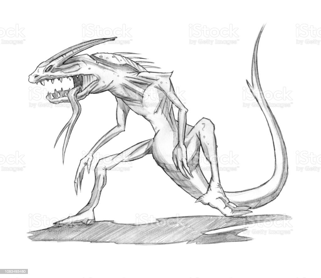 Pencil concept art drawing of fantasy lizard demon or monster royalty free pencil concept art