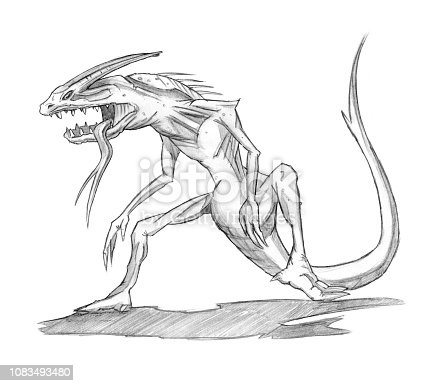 ᐈ Imagen De Set De Lápiz O Tinta Dibujos De Varios Monstruos De