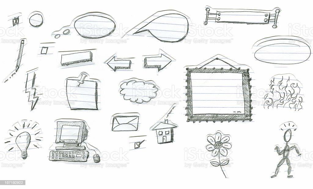 Pencil Doodles on Notebook vector art illustration
