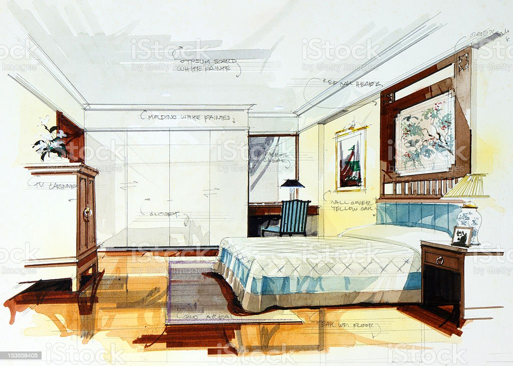 Interior Design Sketches Of Furniture ~ Pencil draw and watercolor stock vector art more images
