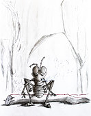Pencil drawing. A tired ant sat on a log and smokes. Senseless life.