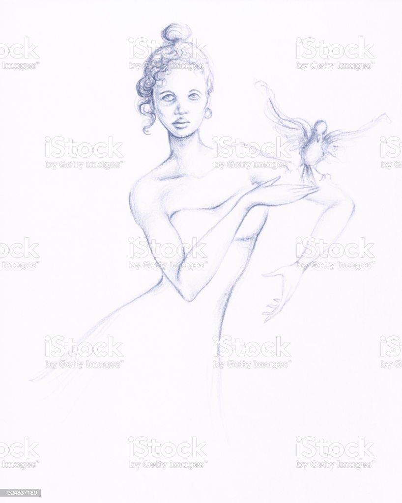 Ilustracion De Lapiz Dibujo Bailarina Figura Y Paloma Pajaro