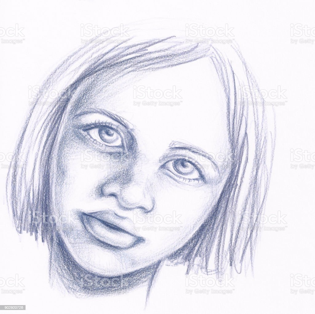 Pencil Drawing Girl Portrait Fashion Illustration Arte Vetorial De