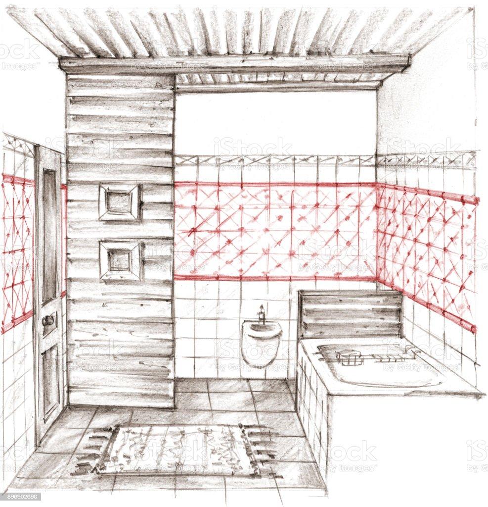 Lápis de desenho de um interior clássico banheiro - ilustração de arte em vetor