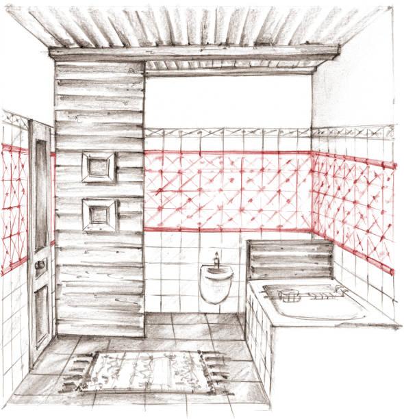 ilustrações, clipart, desenhos animados e ícones de lápis de desenho de um interior clássico banheiro - molduras decorativas