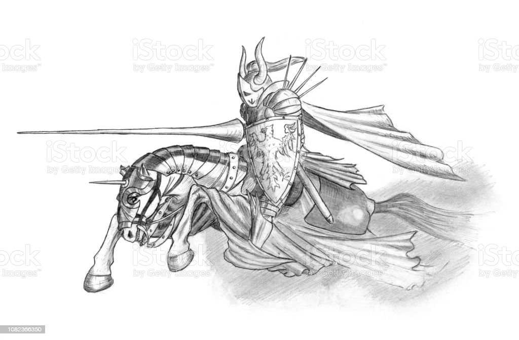 Pencil Drawing Of Medieval Or Fantasy Knight Riding On Horse With Lance Stock Illustration Download Image Now Istock