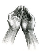 Pencil drawing of two hands facing upwards