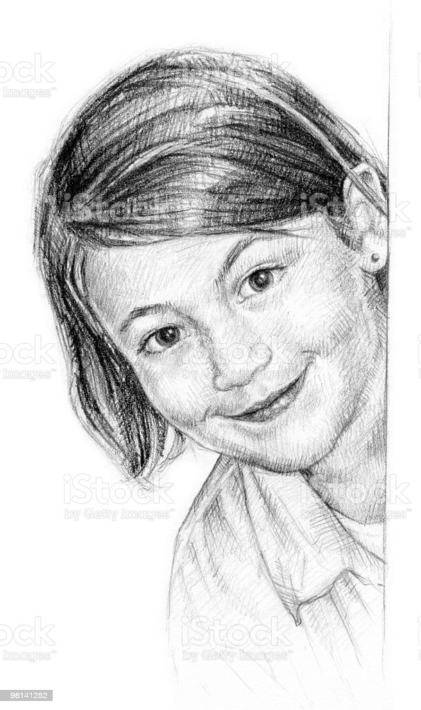 Pencil Drawing of Young Girl royalty-free pencil drawing of young girl stock vector art & more images of art product