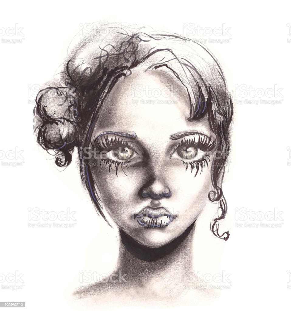 Pencil drawing realistic woman portrait fashion illustration royalty free pencil drawing realistic woman portrait