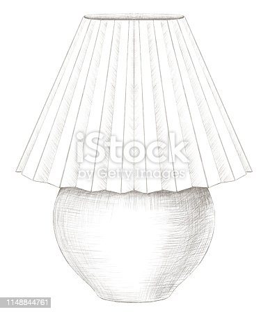 Classic table lamp with lampshade isolated on white background. Lead pencil graphic hand drawn illustration